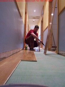 Floor Laying Cork with Jonathan Evans Carpentry Joinery Tel: 086-2604787